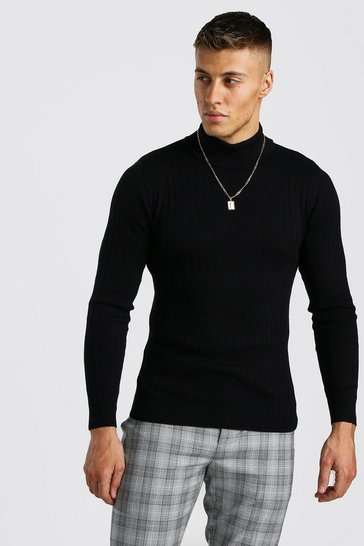 Black Regular Fit Long Sleeve Knitted Roll Neck Jumper