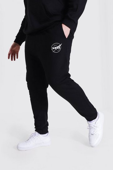 Black Plus Size Nasa Logo License Jogger