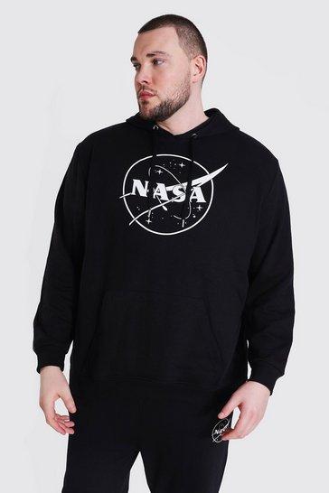 Black Plus Size Nasa Logo License Hoodie