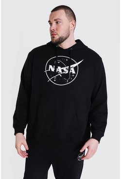 Black Plus Size Nasa Logo License Hoodie