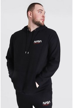 Black Plus Size Nasa Text Logo License Hoodie