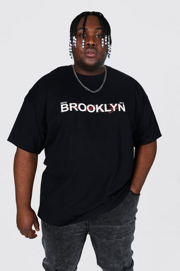 Black Plus Size Brooklyn Text Print T-shirt