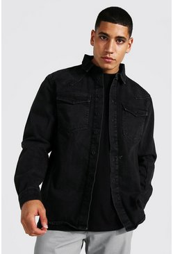 Washed black Regular Long Sleeve Western Denim Shirt
