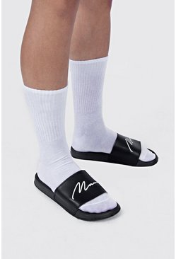 Zwart black MAN Script-slippers
