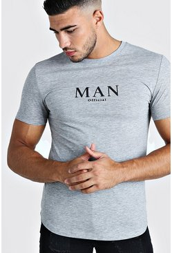 Grey Muscle Fit MAN Roman T-Shirt With Curved Hem