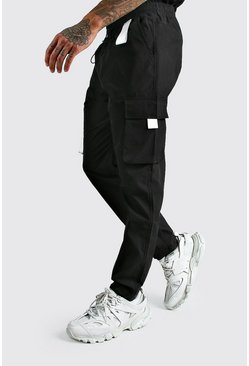 Black svart MAN Cargo Vinyl Pocket Detail Trousers