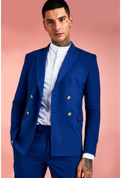 Cobalt Skinny Double Breasted Button Detail Suit Jacket