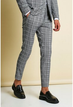 Navy Skinny Tonal Check Cropped Suit Trouser