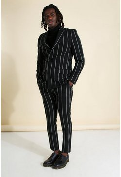 Black Skinny Fit Wide Set Stripe Suit Pants