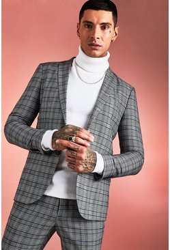 Brown Skinny Fit Heritage Check Suit Jacket