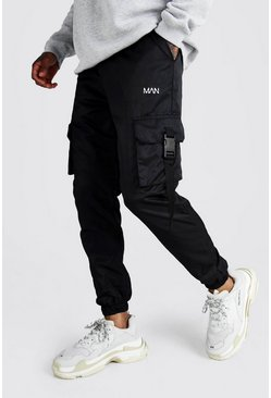 Zwart black Original Man Soft-Shell Joggingbroek Met Gesp