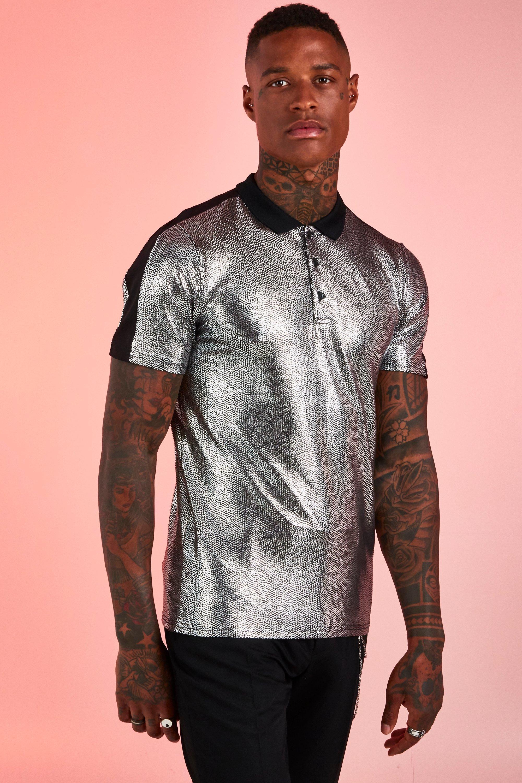 Silver Metallic T Shirt   boohoo