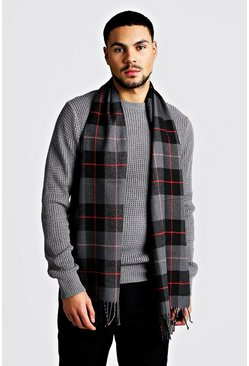 Dark grey grey Red Detail Check Scarf