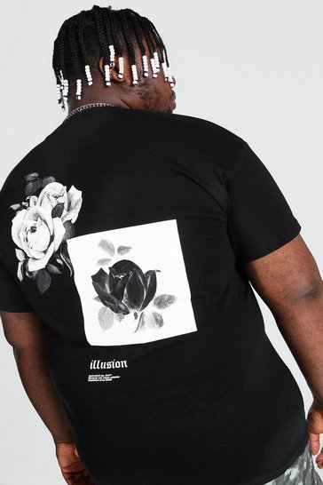 Black Plus Size Monochrome Back Print T-shirt