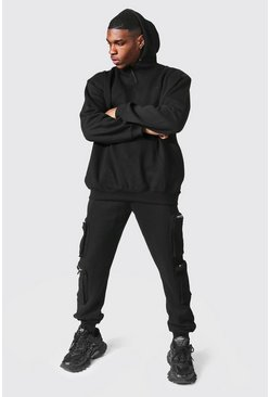 Black Oversized Man Utility Hooded Tracksuit