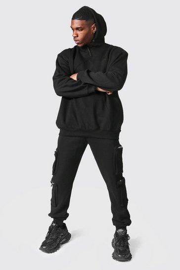 Black Oversized Man Utility Hooded Tracksuit