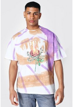 Oversized Heavyweight Tie Dye Printed T-shirt, Purple Фиолетовый