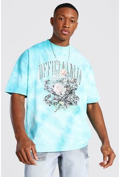 Oversized Heavyweight Tie Dye Printed T-shirt, Blue Синий