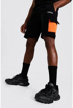 Orange Regular Official Colour Block Cargo Shorts
