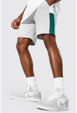 Short droit color block en jersey - MAN, Green vert