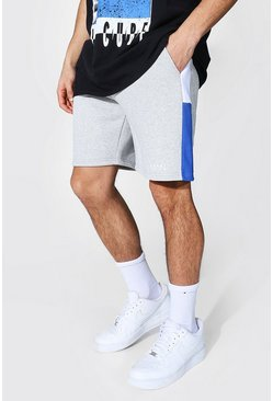 Blue Regular Man Colour Block Jersey Shorts