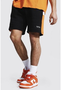 Orange MAN Jerseyshorts med blockfärger