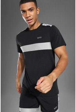 Man Active Mesh Panel T Shirt, Black nero
