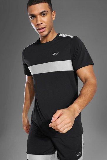 Black Man Active Mesh Panel T Shirt