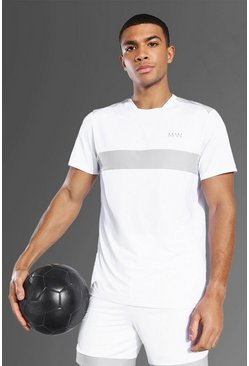 Man Active Mesh Panel T Shirt, White bianco