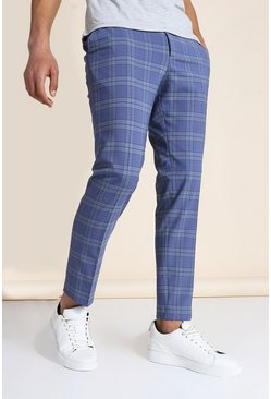 Skinny Blue Check Crop Pants