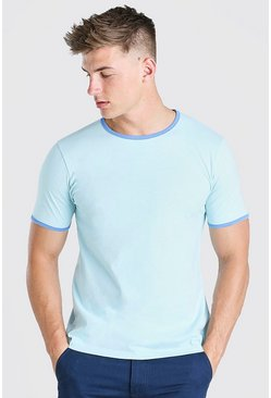 Pale blue Ringer Crew Neck T-Shirt