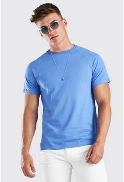 Cornflower blue Raglan Crew Neck T-Shirt