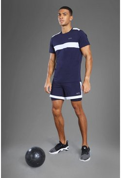 Navy Man Active 2-In-1 Zip Pocket Short Set