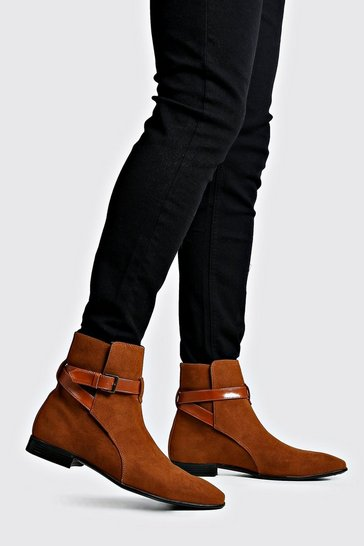 Tan brown Wrap Around Faux Suede Chelsea Boots