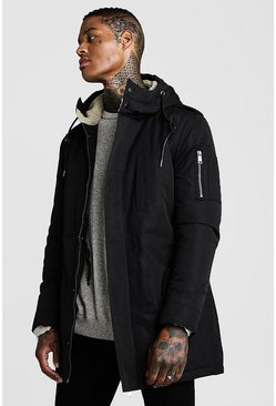 Black Parka Coat With Borg Lined Hood