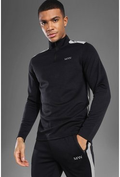 Man Active Mesh Panel ¼ Zip Top, Black nero