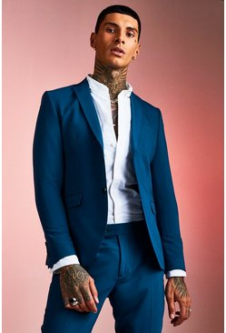 Teal green Skinny Fit Plain Suit Jacket
