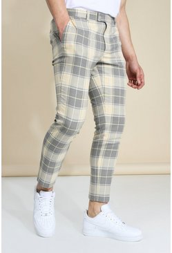 Skinny Yellow Check Crop Trouser