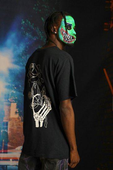 Black Halloween Skeleton Hand With Rose Print T-Shirt