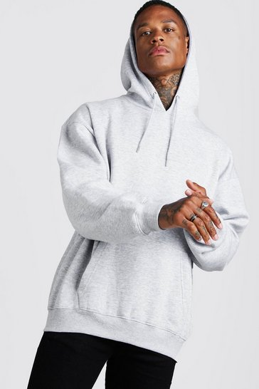 Grey marl grey Basic Oversized Over The Head Fleece Hoodie