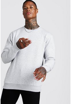 Grey marl grey Basic Crew Neck Fleece Sweatshirt