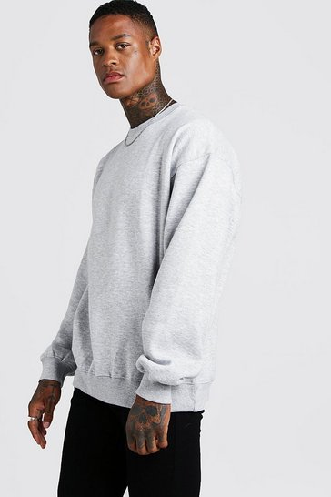 Grey marl grey Basic Oversized Crew Neck Sweatshirt
