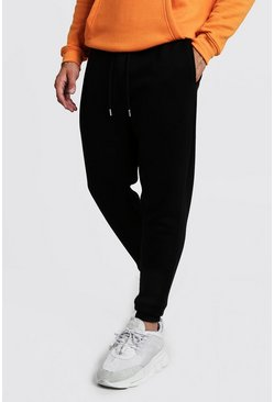 Black svart Basic skinny joggers i fleece