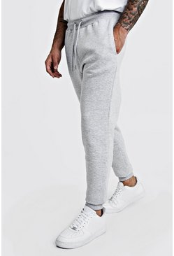 Grey marl grå Basic skinny joggers i fleece