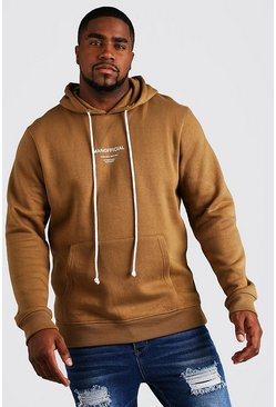 Brown Plus Size MAN Official Hoodie With Drawcord