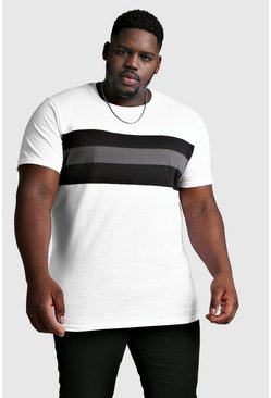 White Plus Size Longline Colour Block T-Shirt