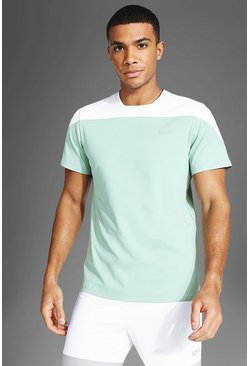 Man Active Colour Block T Shirt, Mint gerde