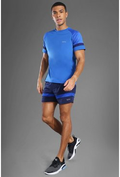 Cobalt blue Man Active Patterned Panel Zip Pocket Short Set