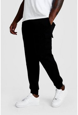 Zwart black Plus Basic Strakke Cargo Joggingbroek