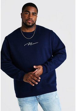 Big and Tall Pullover mit MAN-Stickerei, Marineblau